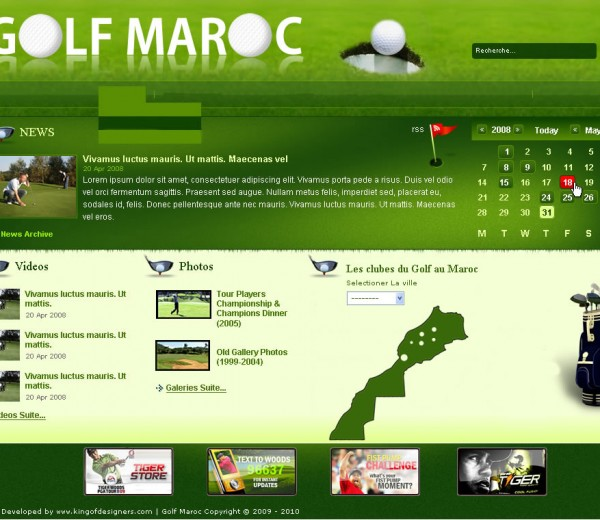 GOLF MAROC – Webdesign golf web site on 2010