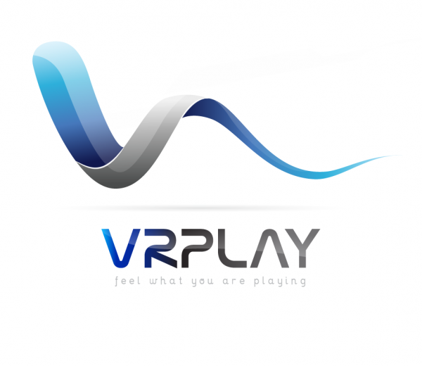 VR play New wave futuristic blue logo for Game makers